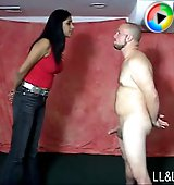 Giantess kicks balls