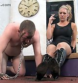 Clean the filth and mud from the soles of Her boots.