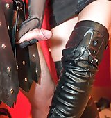 Dominatrix Annabelle teaches her slave flogged on the cross