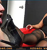 Goddess Alura ..::.. Paltry ugly old freak has to eat cum of 2 lovers and must lick the bottom of Her high heels ..::.. SUPER HD