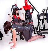 FemDom Helga forces her TV sluts to lick her boots.
