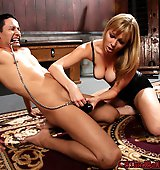 Mistress teaches her first time slave what CBT is all about
