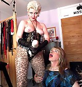 Mistress Helga punishes a cheeky crossdressers sweet ass.