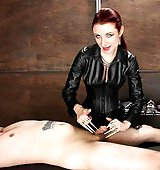 Sexy femdom Mistress dominates with brutal CBT