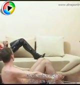 Femdom-addicted guy gets his chocolate flower stretched by two bossy ladies