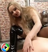 Mistress rams her rubber strapon cock into her human doggy's tight asshole